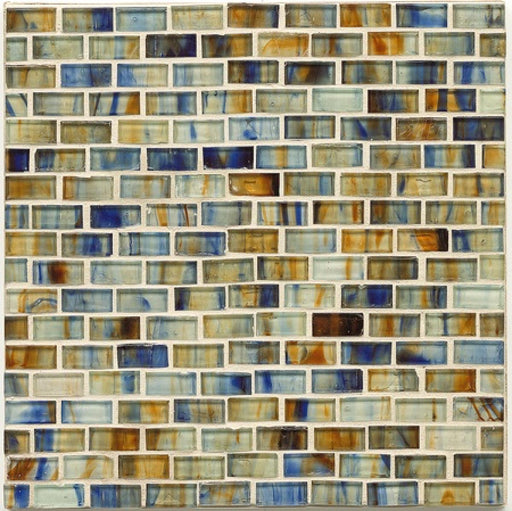 Haute Glass Non-Iridescent Floor and Wall Brick Mosaic in Brown Eyes Blue, Sold by the Piece