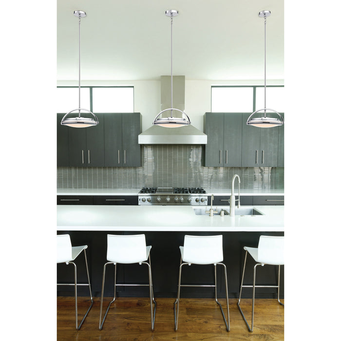 ELK Lighting LC411-PW-15 1 Light LED Pendant In Chrome And Paint White Glass Chrome Free Parcel Delivery