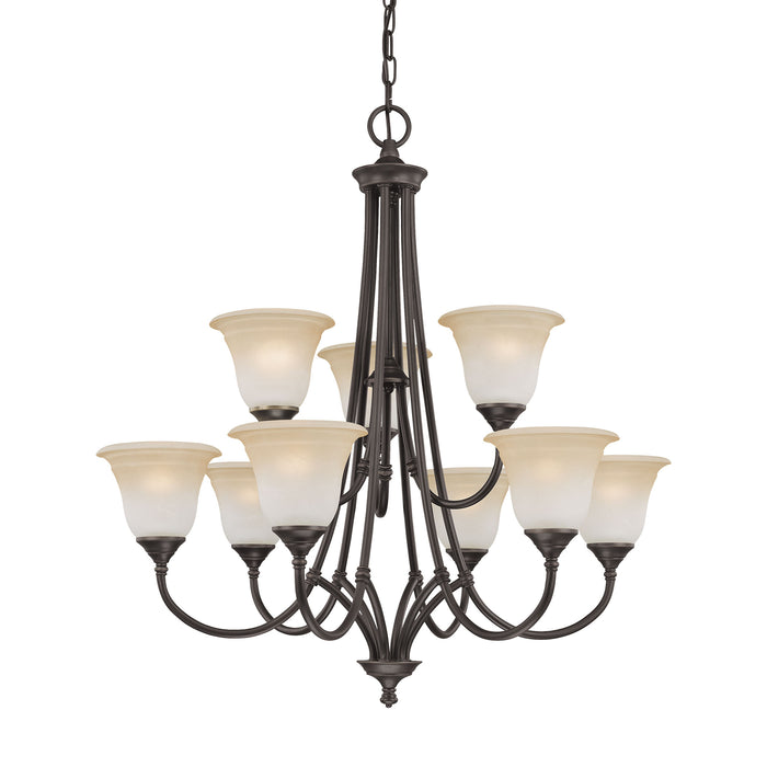 Thomas Lighting SL880262 Harmony 9 Light Chandelier In Aged Bronze Aged Bronze