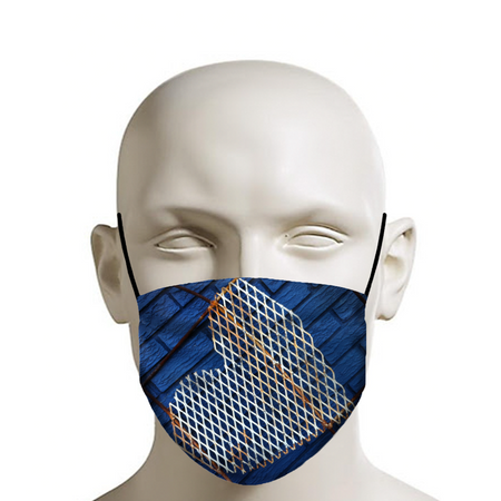 Indigo Bricks Rusty Hearts Face Mask