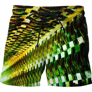 Green Gold Metal Swim Shorts