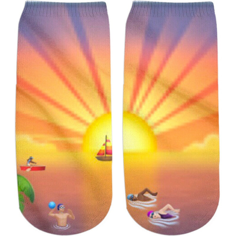 Sunset Emoji Ankle Socks