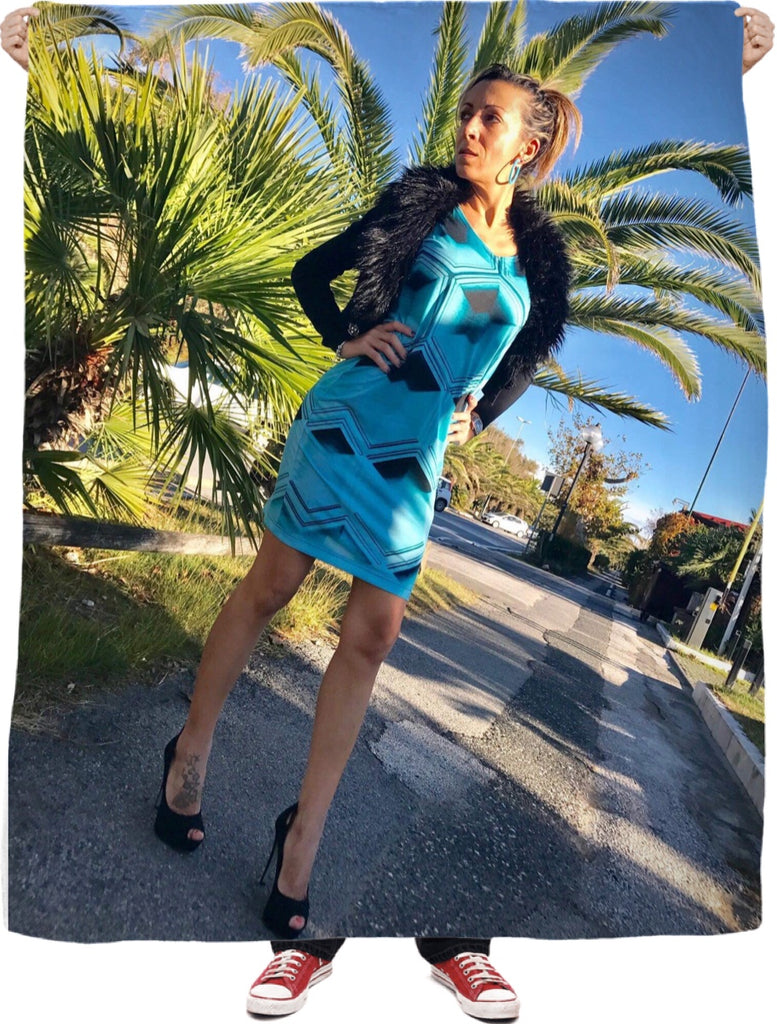 Model Wearing Aqua Angles Dress