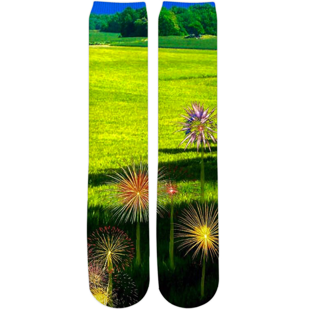 Fireworks Flowers Knee High Socks