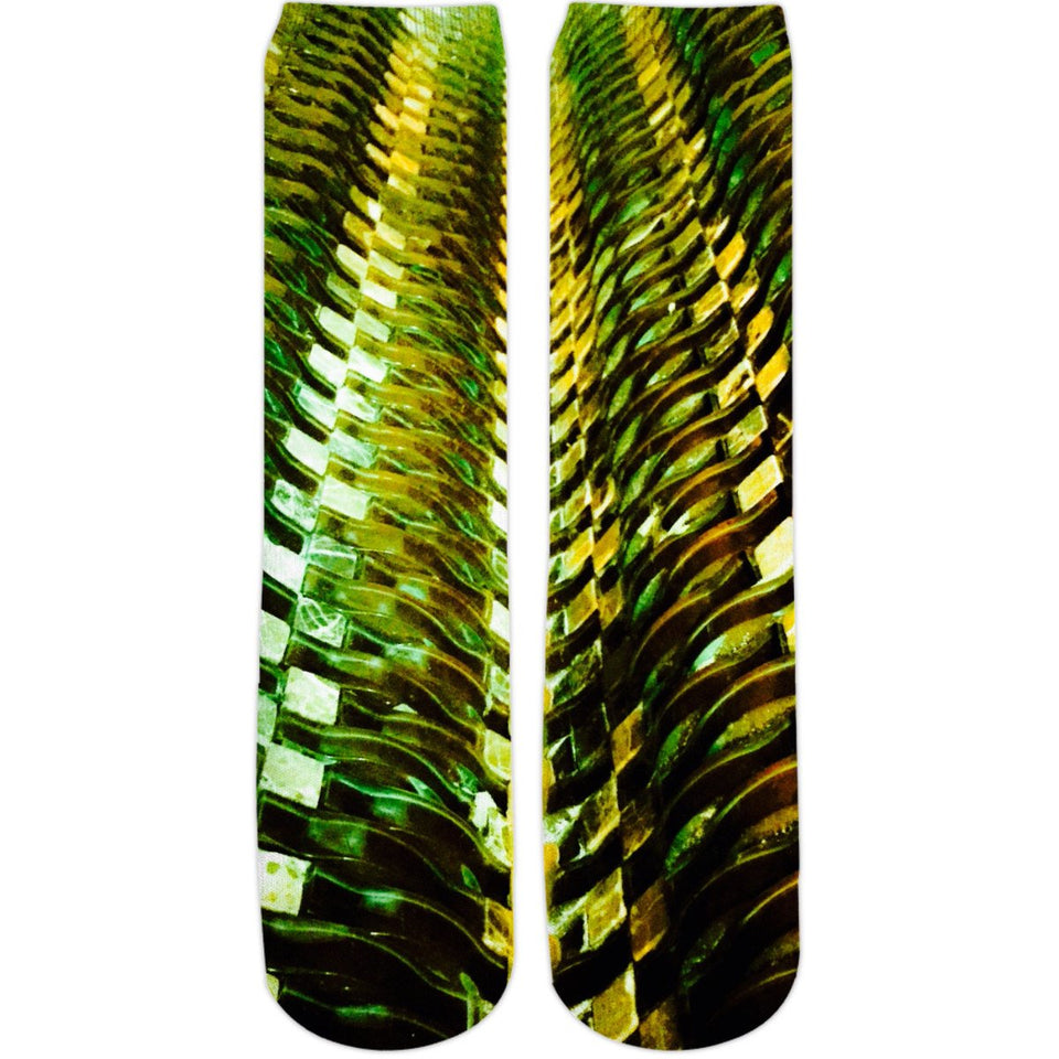 Green Gold Metal Crew Socks