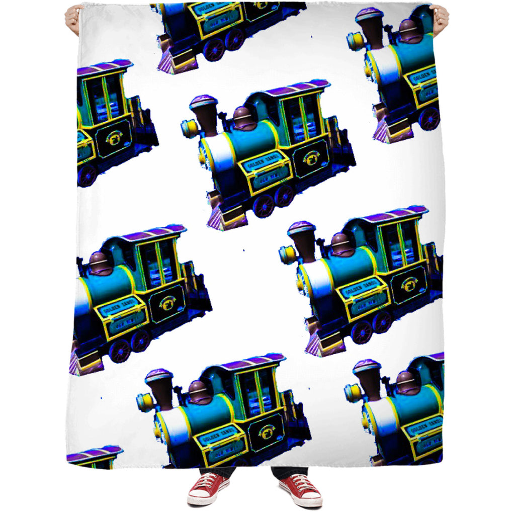 Blue Trains Fleece Blanket