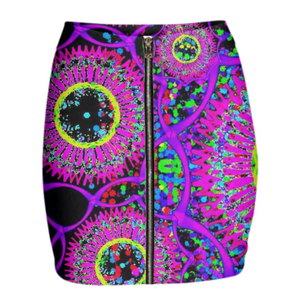 Blacklight Daydream Gabriel Held Neoprene Mini Zip Skirt