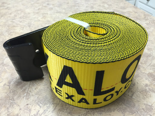 "EXALOY Winch Strap 4""x30' Yellow W/Flat Hook"