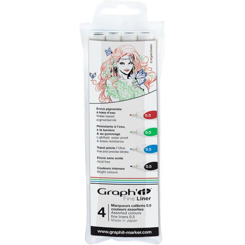 Graph' It Fine Liner Pens Assorted Colours 4ct