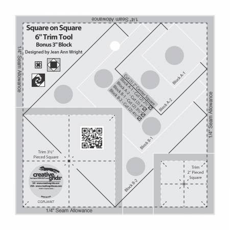 "Creative Grids Square on Square Trim Tool - 3"" or 6"" Finished"
