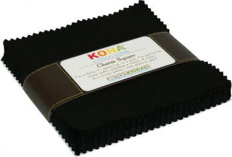 5 In Squares Kona Solids Black