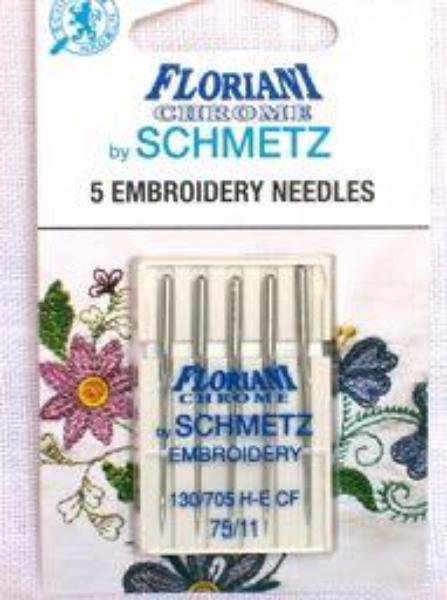 Floriani Schmetz Chrome Embroidery Needles 75/11