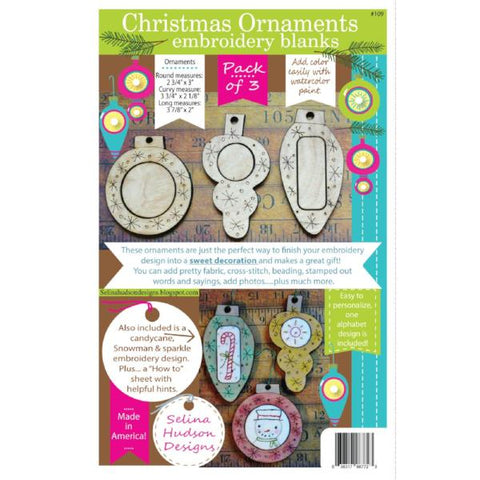 Christmas Ornaments Embroidery Blanks -3pcs