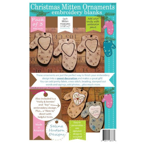 Christmas Mitten Ornaments Embroidery Blanks -3pcs
