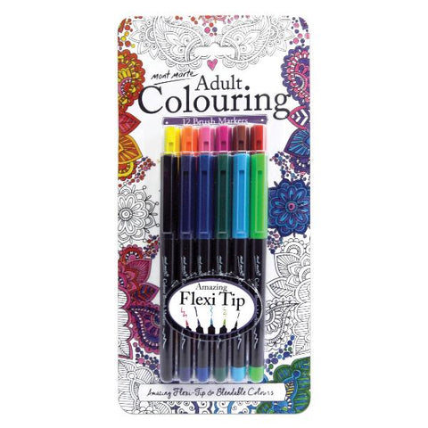 Adult Colouring 12 Brush Markers