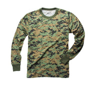 Mens Army Style Long Sleeve Gym Training Camouflage T-Shirt Tee