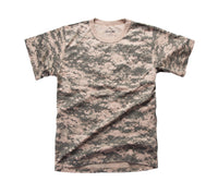 Mens Army Style Short Sleeve Camouflage T-Shirt Tee