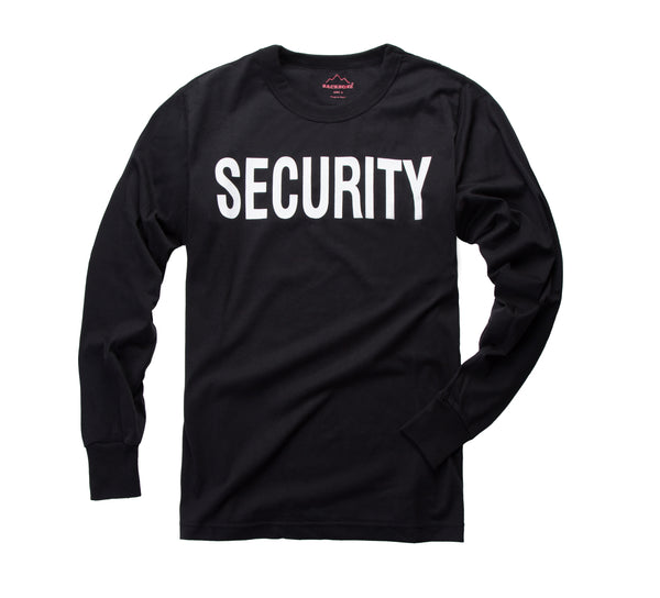 "BACKBONE Mens Army Style Long Sleeve ""SECURITY"" T-Shirt Tee"
