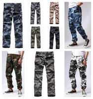 Mens Casual Multi-pocket Camouflage Cargo Pants Military Army Trousers BDU Pants Trousers with Zip Fly
