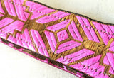 Pink and Gold Embroidered Art Deco Non Slip Headband