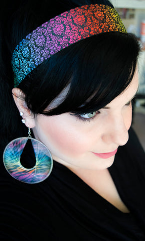 Multi Color Damask Rainbow Wide Non Slip Headband
