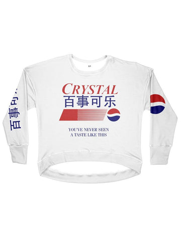 crystal pepsi women's drop shoulder sweatshirt - Public Space xyz - vaporwave aesthetic clothing fashion, kawaii, pastel, pastelgrunge, pastelwave, palewave