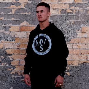 Open image in slideshow, MVS two tone logo mens black hoodie