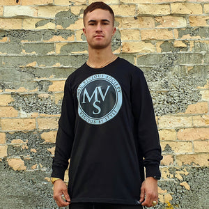 Open image in slideshow, MVS two tone logo mens black long sleeve tee