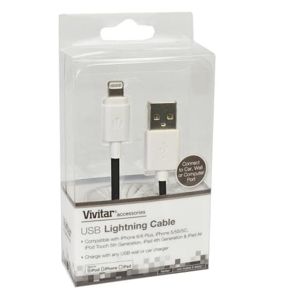 3 Vivitar MFI Lightning to USB Charge/Sync Cable (Black/White) - Cable