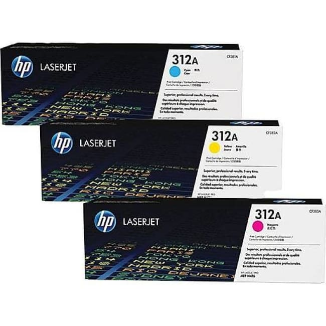 HP 312A (CF440AM) Cyan Magenta & Yellow Original Toner Cartridges