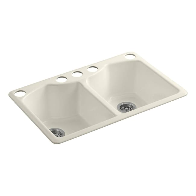 KOHLER Enameled Cast Iron : Bellegrove Almond Under-mount Kitchen Sink