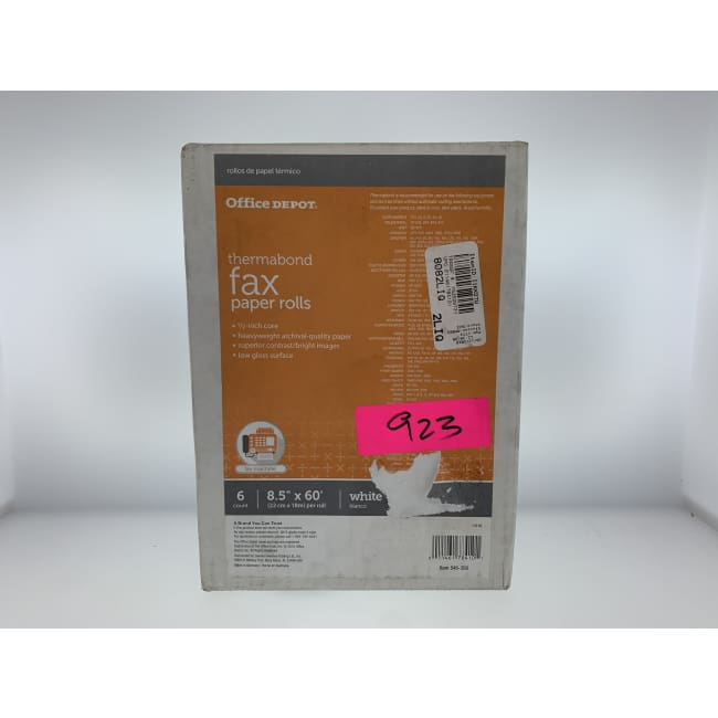 Office Depot Thermabond Fax Paper 1/2in. Core 60ft. Roll Box Of 6 Rolls - Thermabond Fax Paper