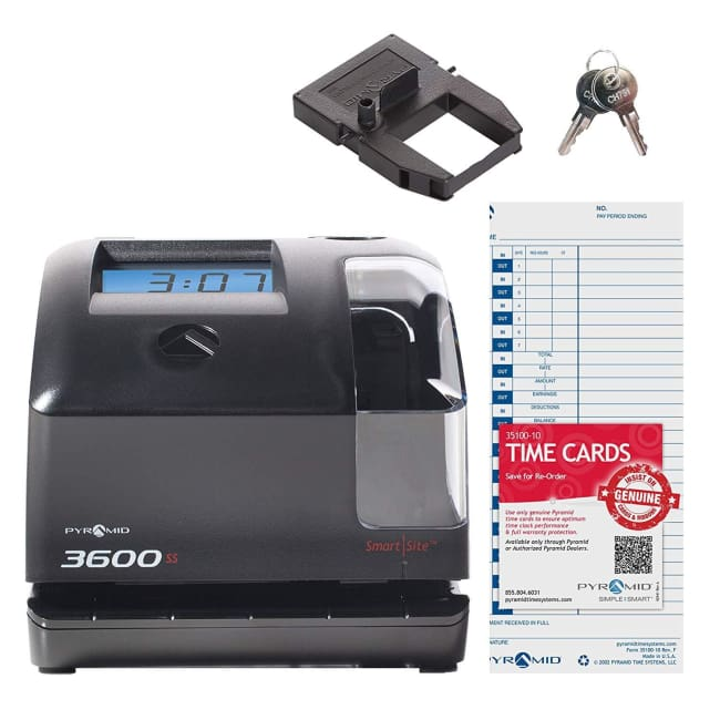 Pyramid 3600ss SmartSite Time Clock and Document Stamp - Time Clock