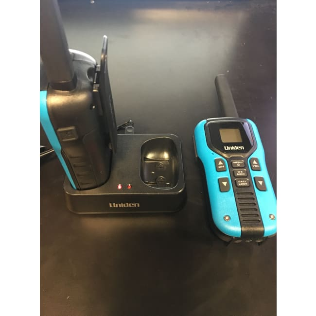 Uniden 40-Mile Two-way Radios with Charging Kit - Blue - Microphone