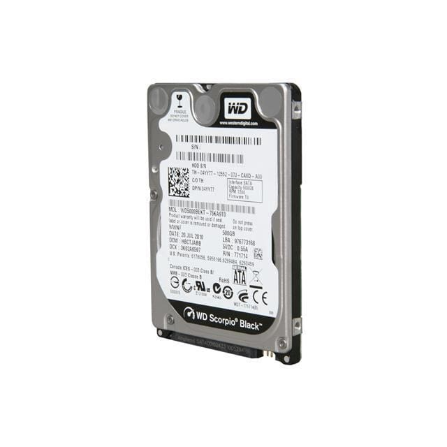 Western Digital 500GB 7200RPM SATA 2.5 NBB HD WD5000BEKT Hard Drive - Storage