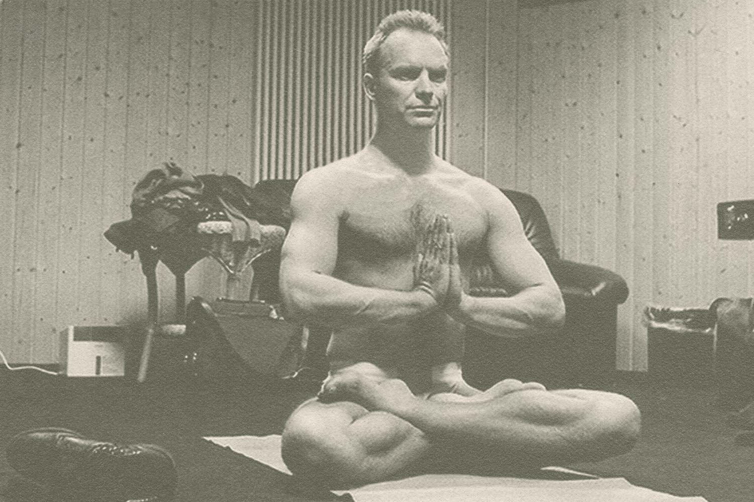 Sting doing yoga in a music studio
