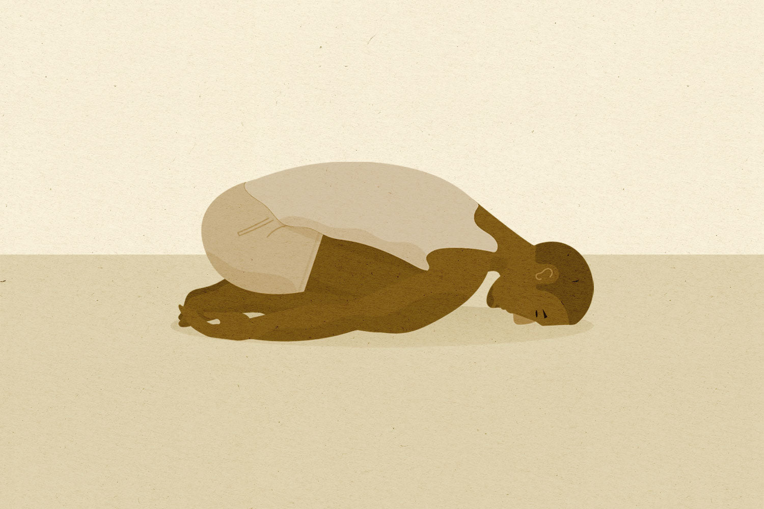 So We Flow... Illustration of a man doing Child's Pose