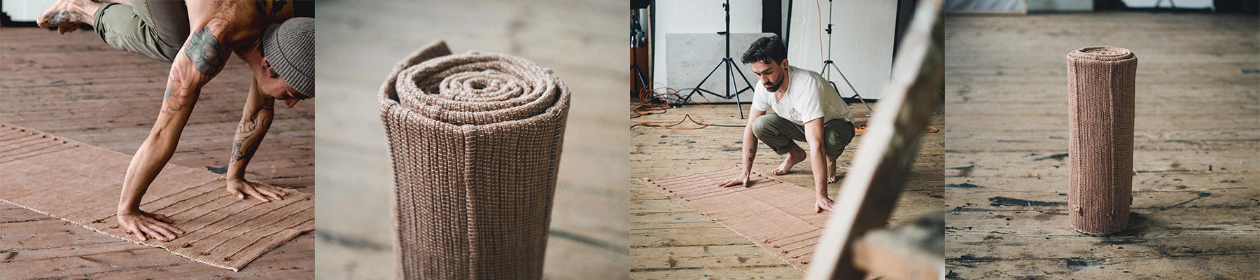 Four images of So We Flow...'s eco-friendly yoga mats