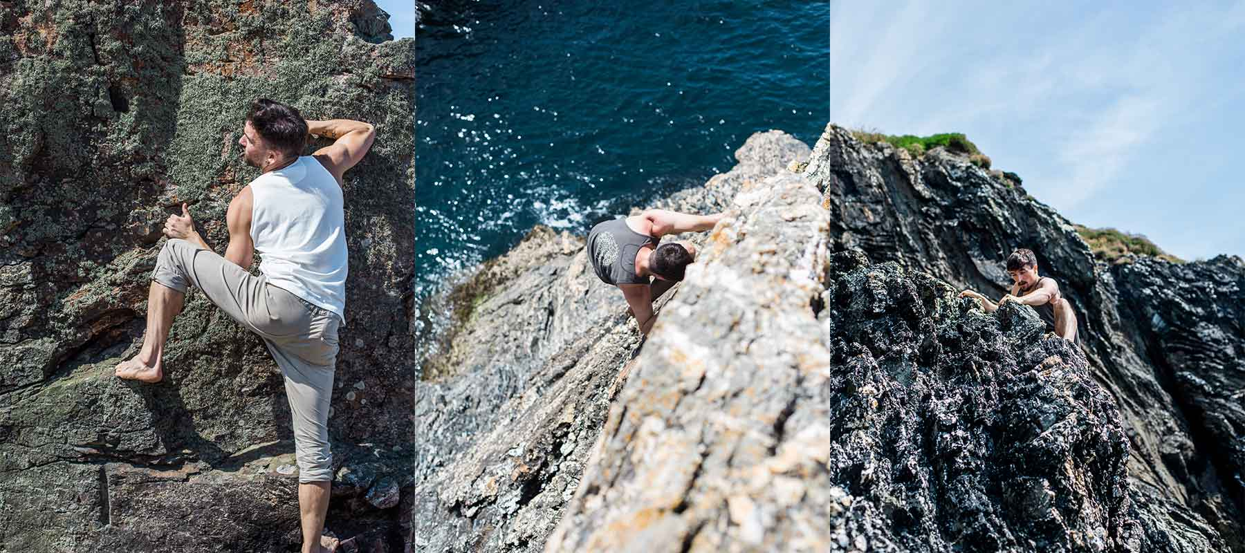 Montage of three men wearing So We Flow... men's bouldering trousers