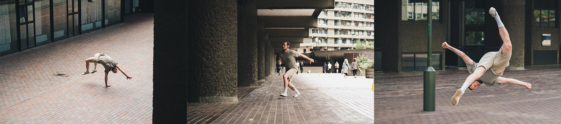 Man wearing So We Flow... parkour clothing whilst running and doing flips