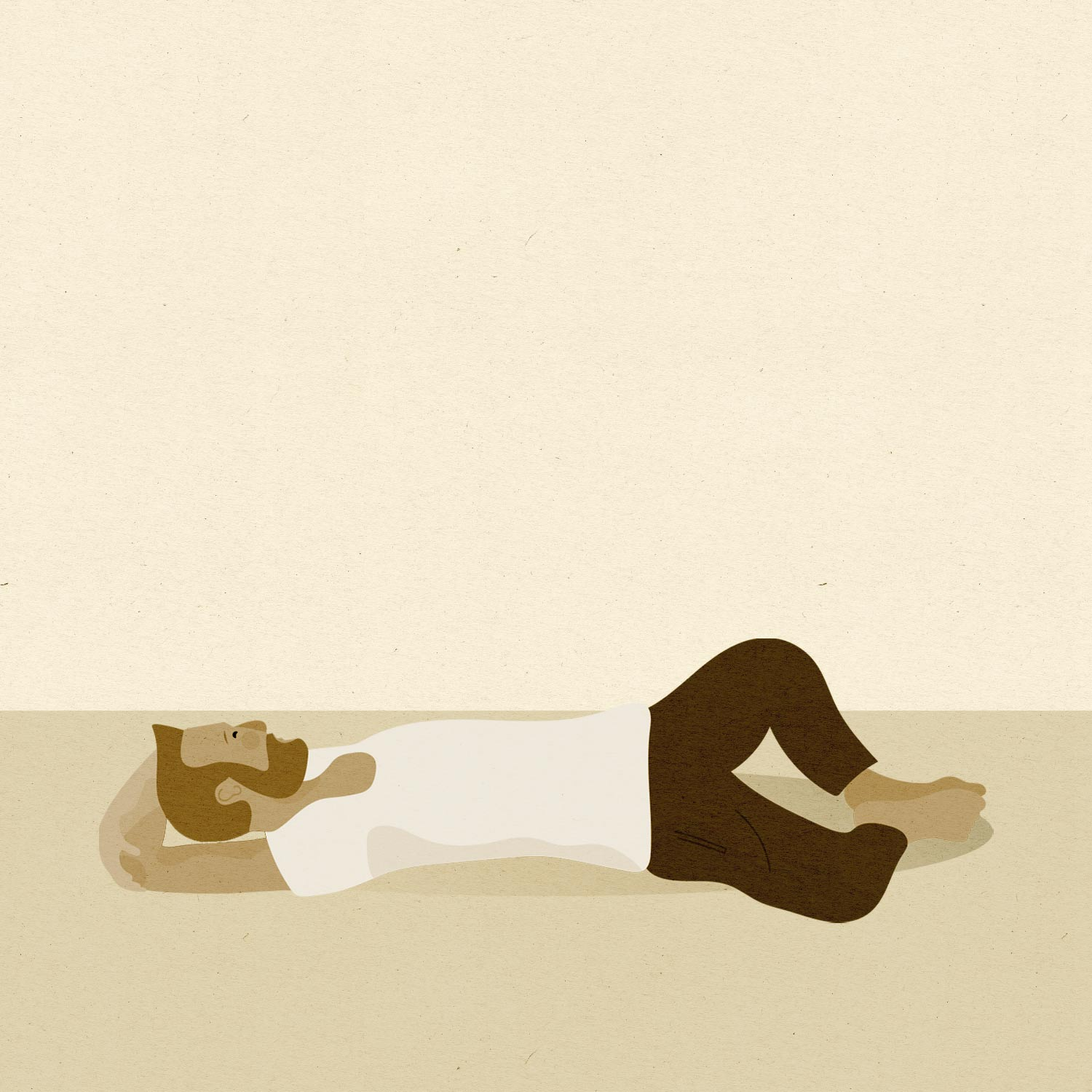 So We Flow... Illustration of a man doing Reclined Goddess Pose