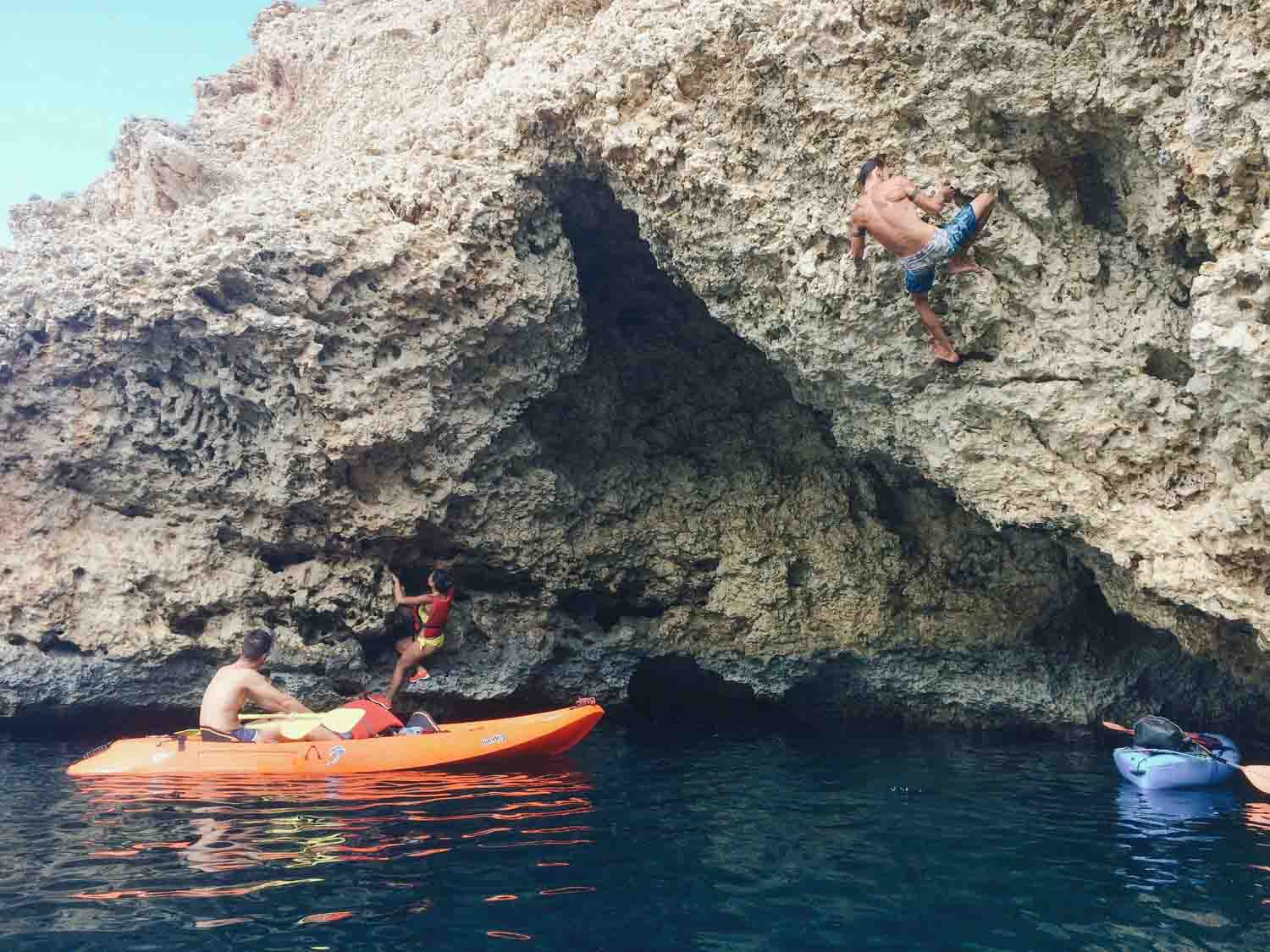 Rock climbing and coasteering in Ibizia