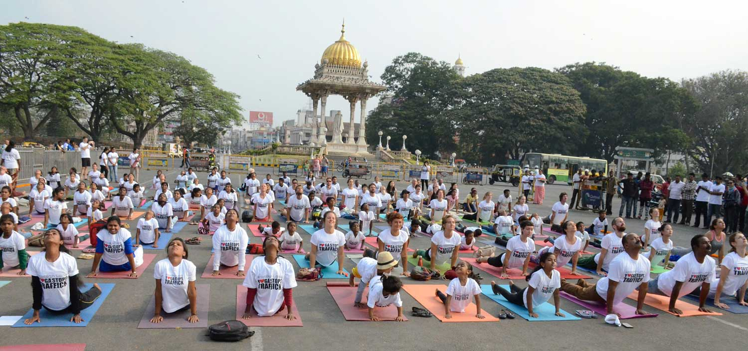 Yoga Stops Traffick large group doing yoga