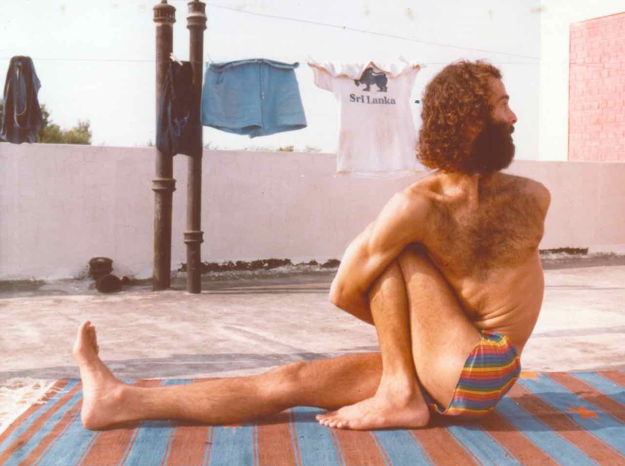 Prem Carlisi practicing rooftop yoga in the Punjab