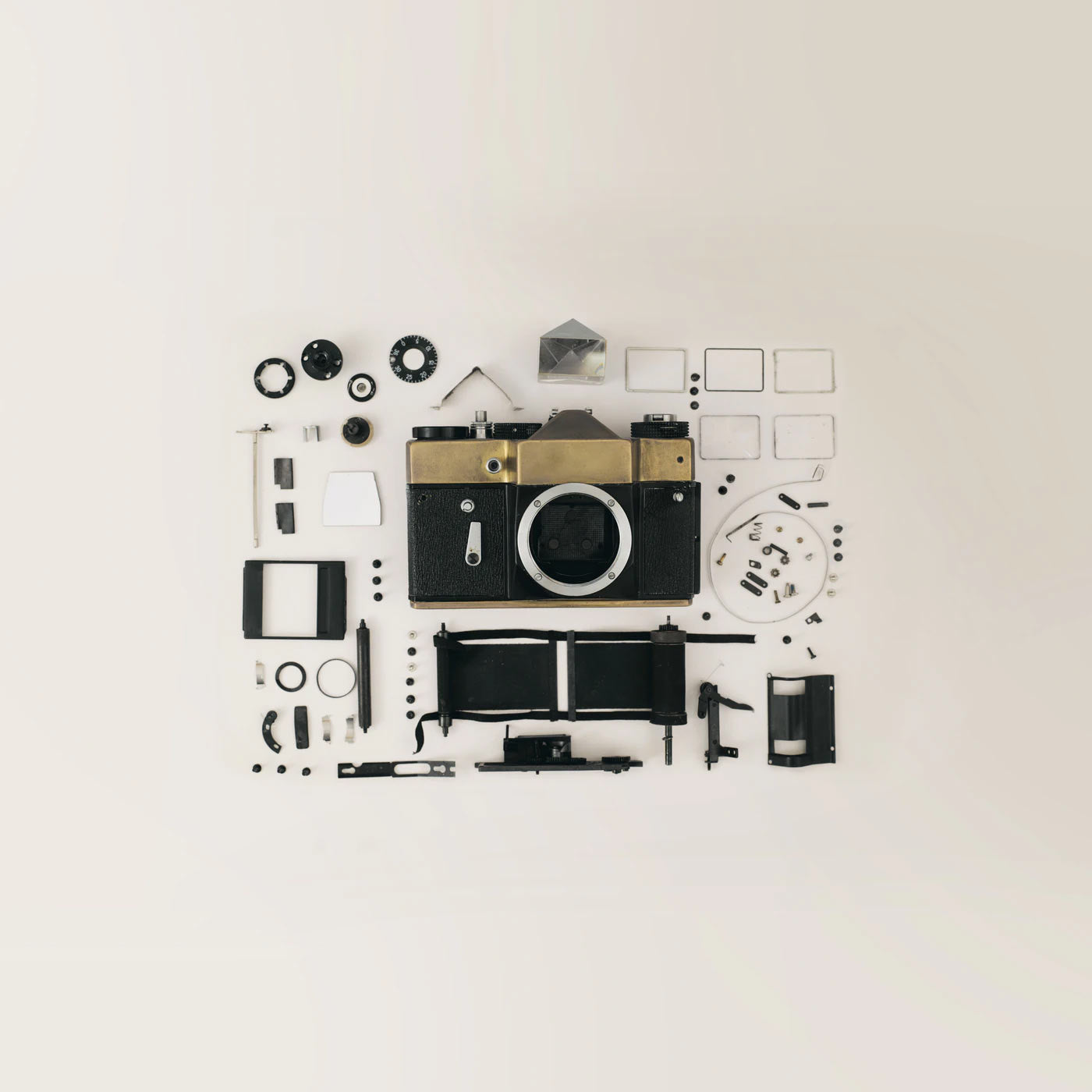 Camera separated into parts