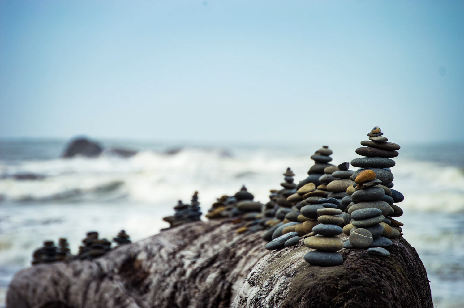 Rocks piled on a beach