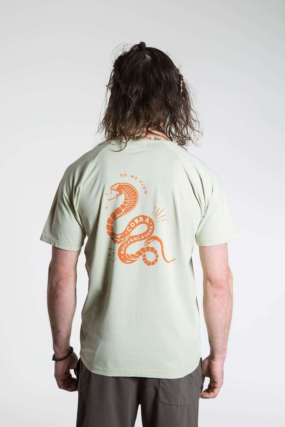 so we flow... mens green yoga t-shirt with cobra graphic back view