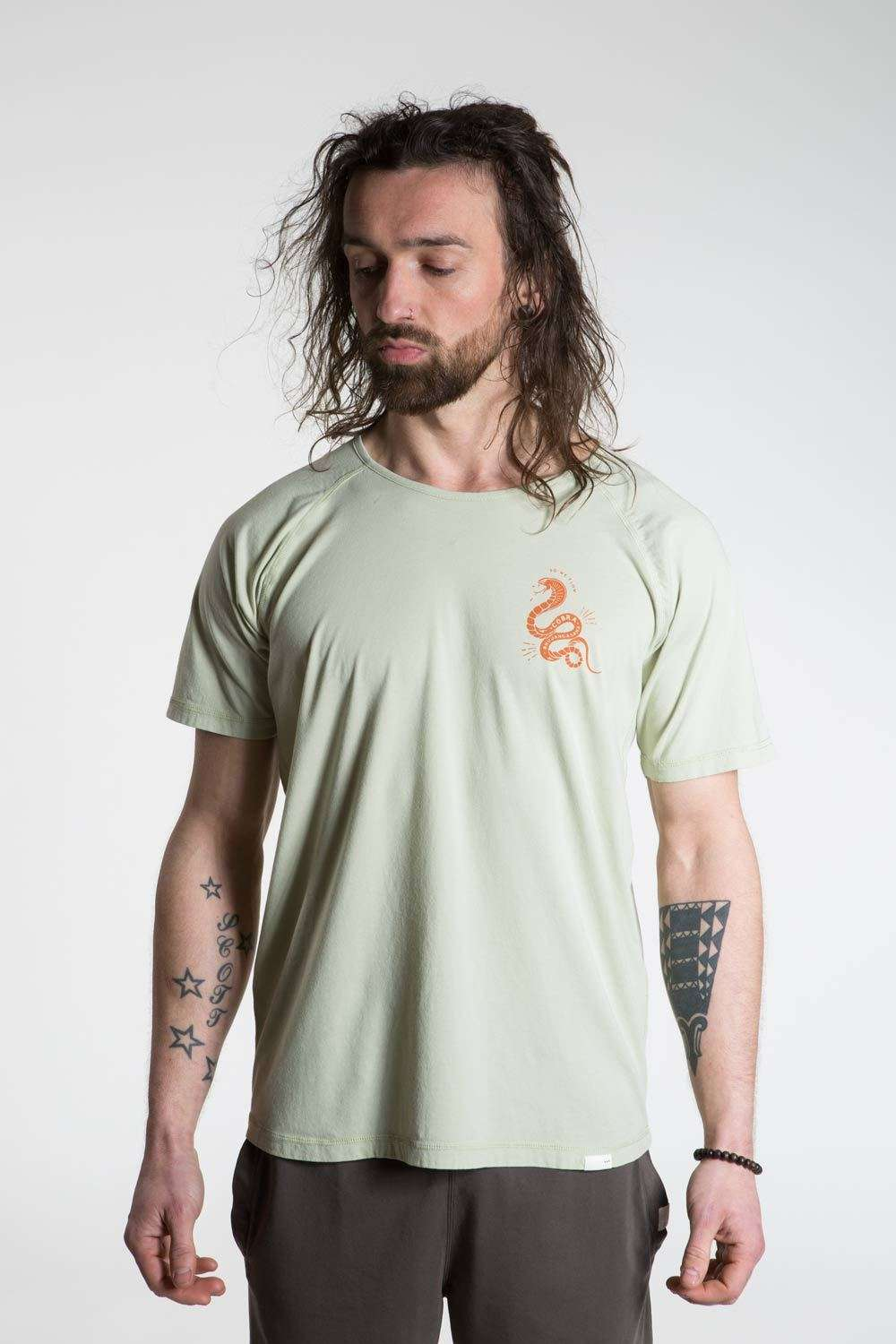 so we flow... mens green yoga t-shirt with cobra graphic front view