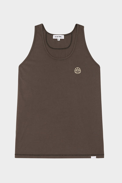 So We Flow... mens grey yoga vest with graphic front view