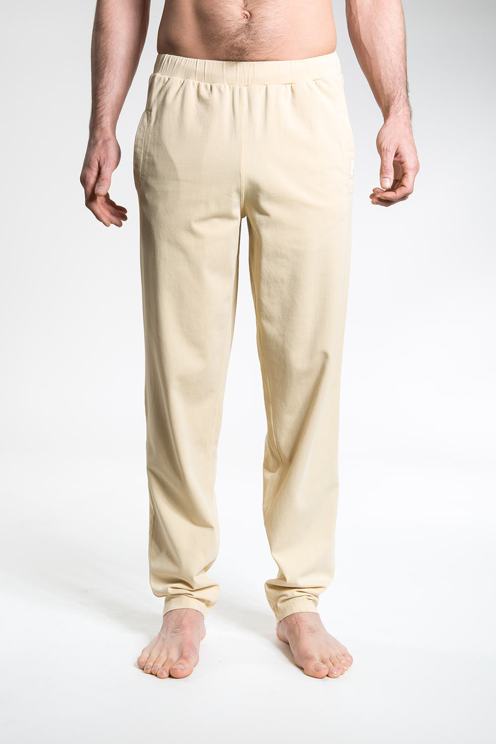so we flow... mens sand organic cotton yoga and climbing pants front view